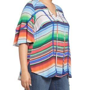 Melissa McCarthy Seven7 Tops - Melissa McCarthy Striped Tassel Tie Blouse NWT 4X
